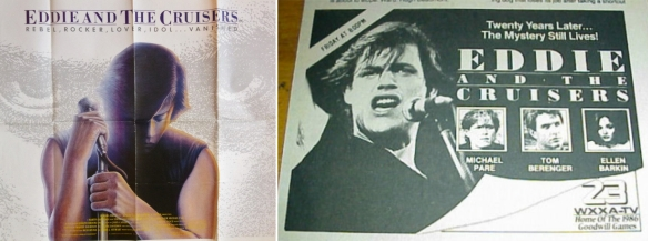 1980s advertising for Eddie and the Cruisers - UK poster (left), US newspaper ad (right)