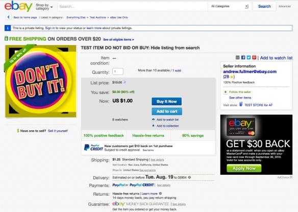 ebay test listing - don't buy it