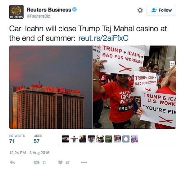 Carl Icahn to close Trump Taj Mahal casino