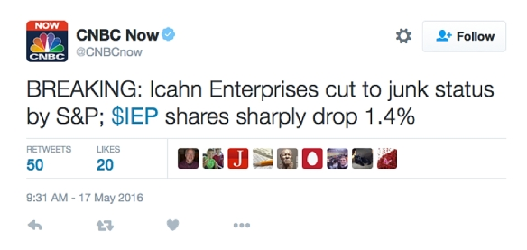 Icahn Enterprises cut to junk status by S&P