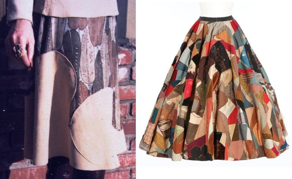 The skirt I made for Jane (left); Jane's skirt from Seven Brides for Seven Brothers (right).
