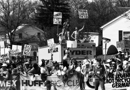 Protesters at the finish line of Stage 1 in New Paltz, NY. Copyright Kevin Hogan