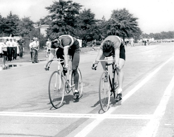National champion Jack Simes III beat former Olympian Ed Lynch at the Flushing Meadow track for a 1960 US Olympic team spot. Photo Copyright © Jack Simes / Peloton Magazine
