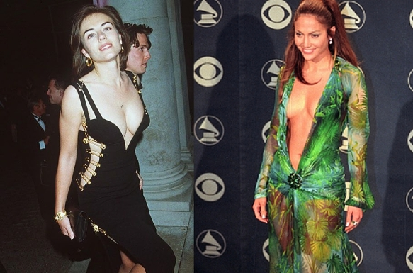 The Versace curve: Safety-pinned dress on Liz Hurley in the Gianni era, 1994 (left). Assortment of scarves and glue on J-Lo in the Donatella era, 2000 (right).